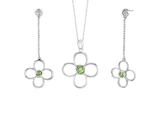 2.75 carats Round Shape Peridot Pendant Earrings Set in Sterling Silver