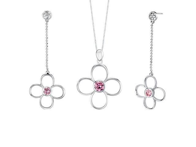 Round Shape Pink Cubic Zirconia Pendant Earrings Set in Sterling Silver