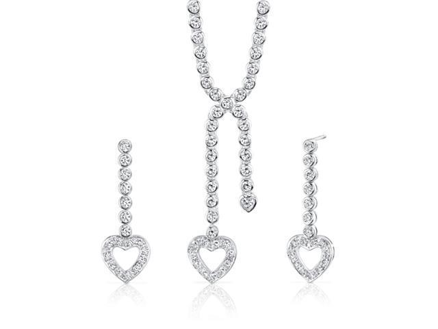 Romantic Style: Sterling Silver Heart Lariat Tennis Necklace Earrings Set with White CZ Diamonds