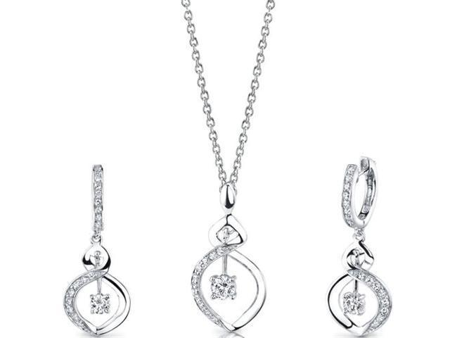 Refined Grace: Sterling Silver Pendant Necklace Earrings Set with CZ Diamonds