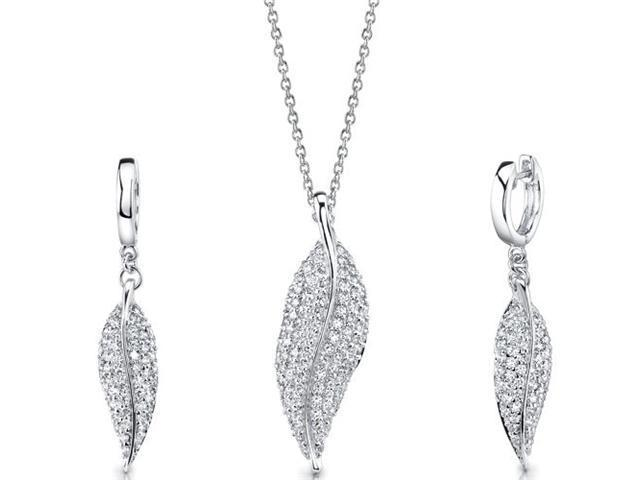 Celebrated Elegance: Sterling Silver Leaf Pendant Necklace Earrings Set with CZ Diamonds