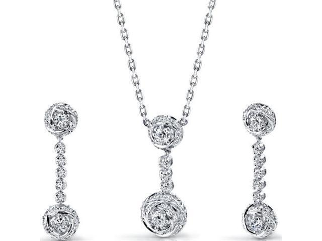 Precious Extravagance: Sterling Silver Rose Necklace Earrings Set with CZ Diamonds