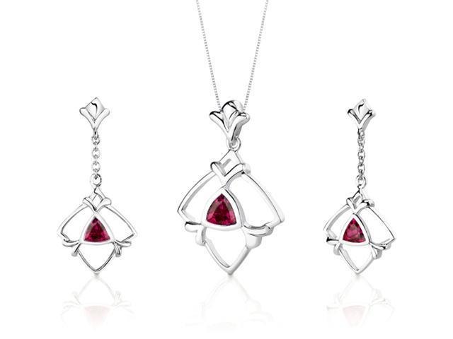 Artful 2.25 carats Trillion Cut Sterling Silver Ruby Pendant Earrings Set