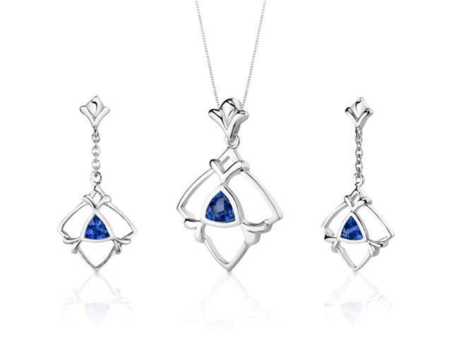 Artful 2.25 carats Trillion Cut Sterling Silver Sapphire Pendant Earrings Set