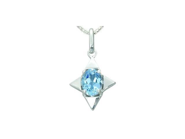 1.50 Carats Genuine Oval Shape Swiss Blue Topaz Sterling Silver Pendant Necklace