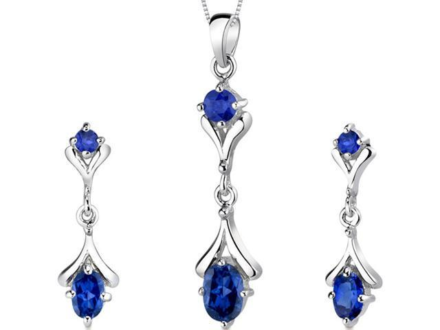 Oval Round Combination 3.00 carats ?Sterling Silver Sapphire Pendant Earrings Set