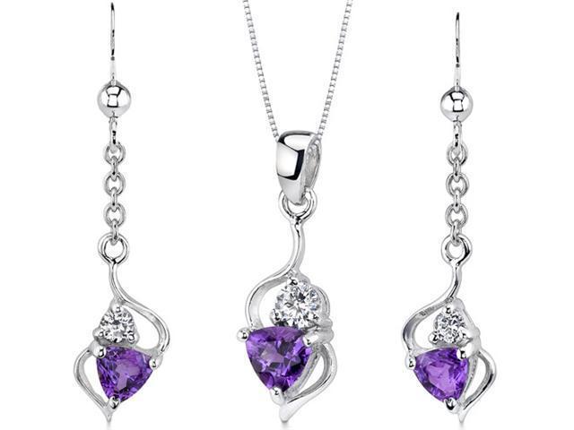 Classy 1.50 carats Trillion Cut Sterling Silver Amethyst Pendant Earrings Set