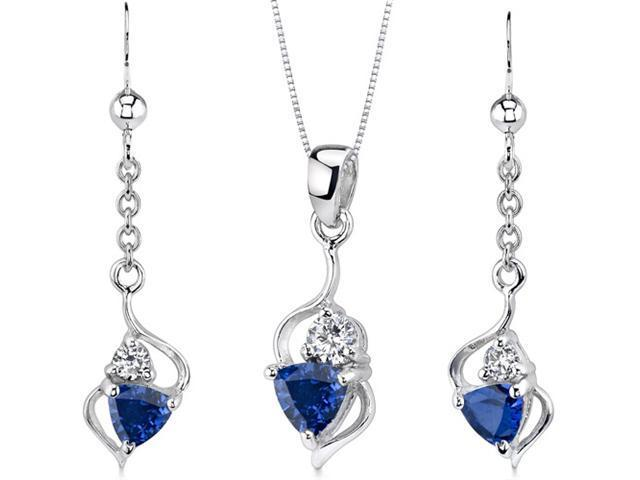 Classy 2.25 carats Trillion Cut Sterling Silver Sapphire Pendant Earrings Set