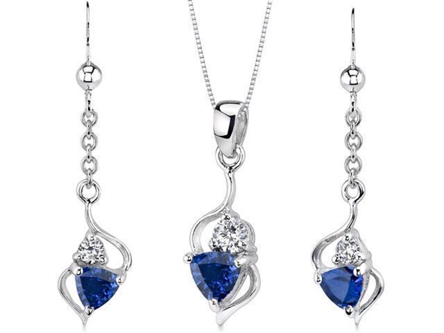 Classy 2.25 carats Trillion Cut Sterling Silver Sapphire Pendant Earrings Set