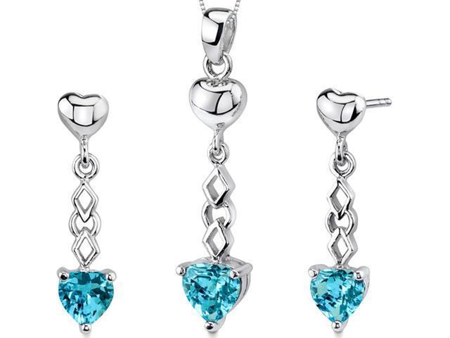 Cupid Duet 3.50 carats Heart Shape Sterling Silver Swiss Blue Topaz Pendant Earrings Set