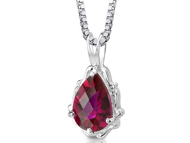 Oravo SP8302 Pear Shape Checkerboard Cut Created Ruby in Sterling Silver Pendant with 18