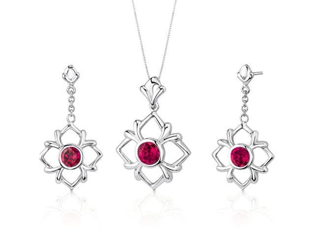 Floral Design 3.75 carats Round Cut Sterling Silver Ruby Pendant Earrings Set