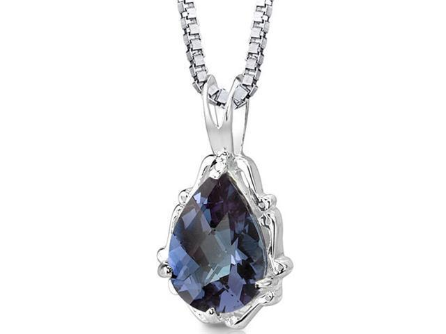 Imperial Beauty: Sterling Silver Pear Shape Checkerboard Cut Alexandrite Pendant with 18 inch Silver Necklace and