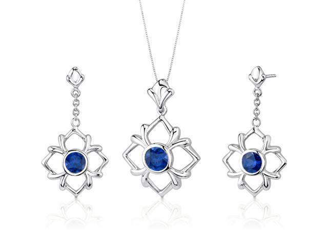 Floral Design 4.00 carats Round Cut Sterling Silver Sapphire Pendant Earrings Set