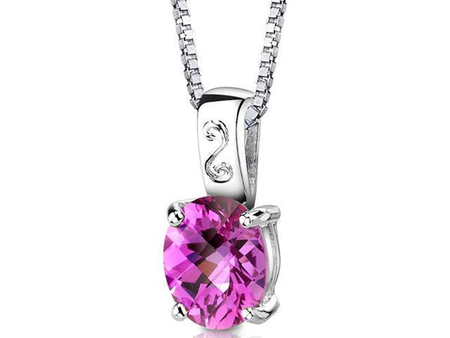 Spring Dream: Sterling Silver Oval Shape Checkerboard Cut Pink Sapphire Pendant with 18 inch Silver Necklace and