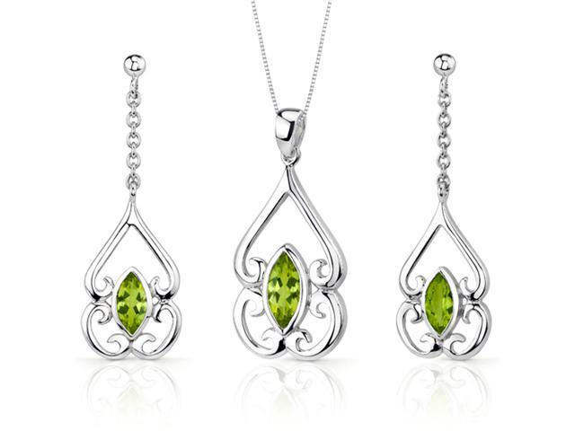 Ornate Style 2.50 carats Marquise Cut Sterling Silver Peridot Pendant Earrings Set