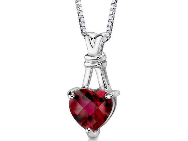 Oravo SP8318 Heart Shape Checkerboard Cut Created Ruby Pendant with 18