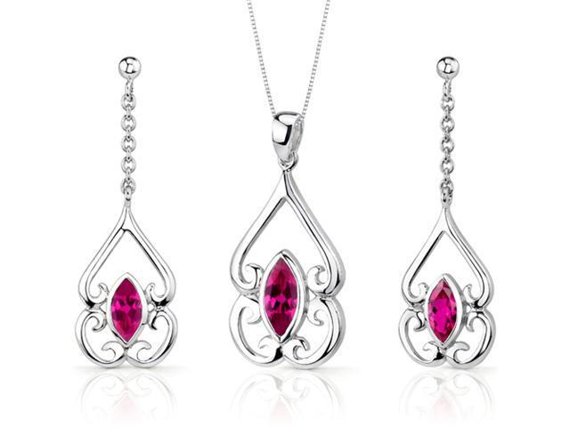 Ornate Style 2.75 carats Marquise Cut Sterling Silver Ruby Pendant Earrings Set