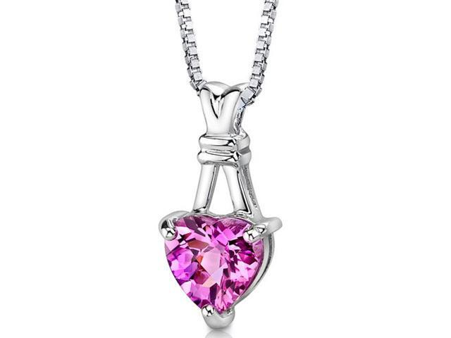 Passionate Pledge: Sterling Silver Heart Shape Checkerboard Cut Pink Sapphire Pendant with 18 inch Silver Necklace and