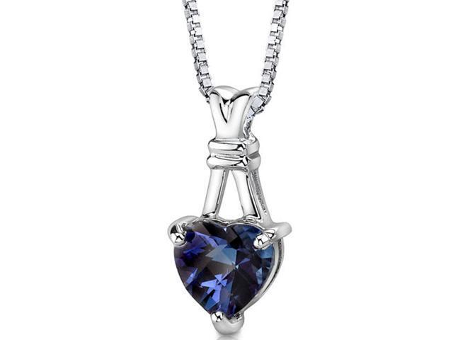 Passionate Pledge: Sterling Silver Heart Shape Checkerboard Cut Alexandrite Pendant with 18 inch Silver Necklace and