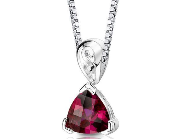 Oravo SP8326 Trillion Checkerboard Cut Created Ruby in Sterling Silver Pendant with 18