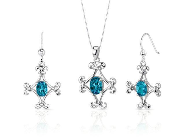 Cross Design 3.50 carats Oval Shape Sterling Silver Swiss Blue Topaz Pendant Earrings Set