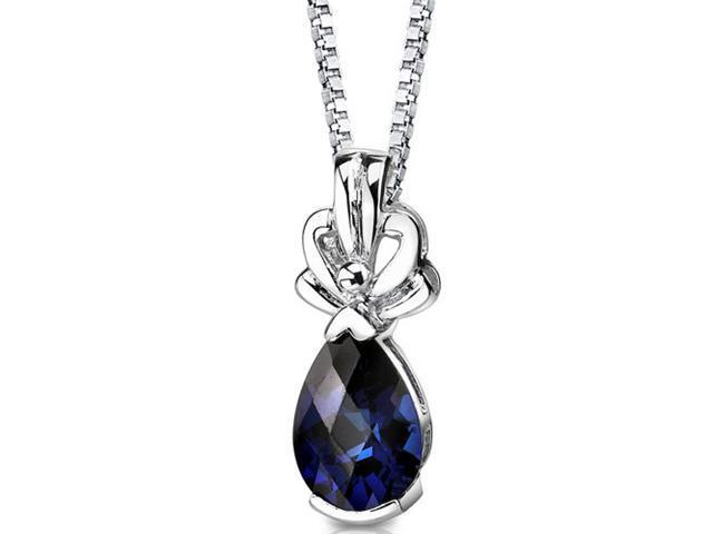 Royal Grace: Sterling Silver Pear Shape Checkerboard Cut Blue Sapphire Pendant with 18 inch Silver Necklace