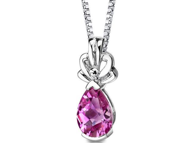 Royal Grace: Sterling Silver Pear Shape Checkerboard Cut Pink Sapphire Pendant with 18 inch Silver Necklace and