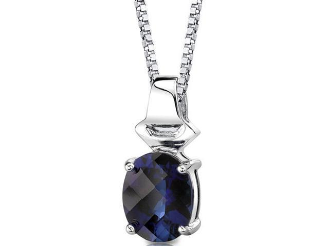 Exquisite Glamour: Sterling Silver Oval Shape Checkerboard Cut Blue Sapphire Pendant with 18 inch Silver Necklace