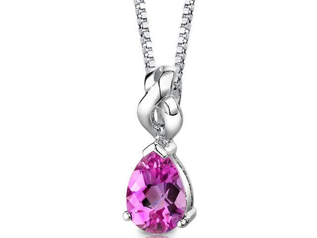 Mysterious Allure: Sterling Silver Pear Shape Checkerboard Cut Pink Sapphire Pendant with 18 inch Silver Necklace and