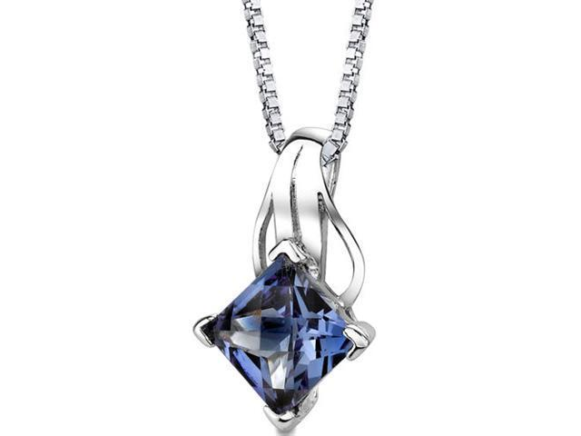 Sensational Glamour: Sterling Silver Princess Checkerboard Cut Alexandrite Pendant with 18 inch Silver Necklace and