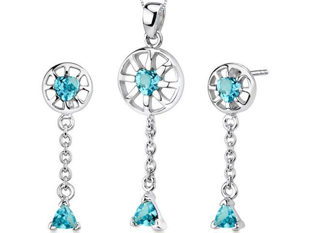 Dainty 2.00 carats Trillion Heart Shape Sterling Silver Swiss Blue Topaz Pendant Earrings Set