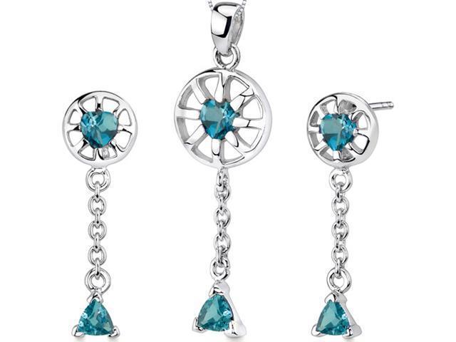 Dainty 2.00 carats Trillion Heart Shape Sterling Silver London Blue Topaz Pendant Earrings Set
