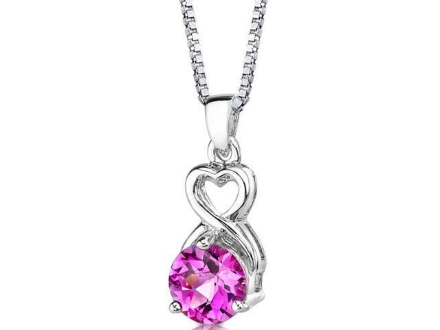 Magical Romance: Sterling Silver Round Shape Checkerboard Cut Pink Sapphire Pendant with 18 inch Silver Necklace and
