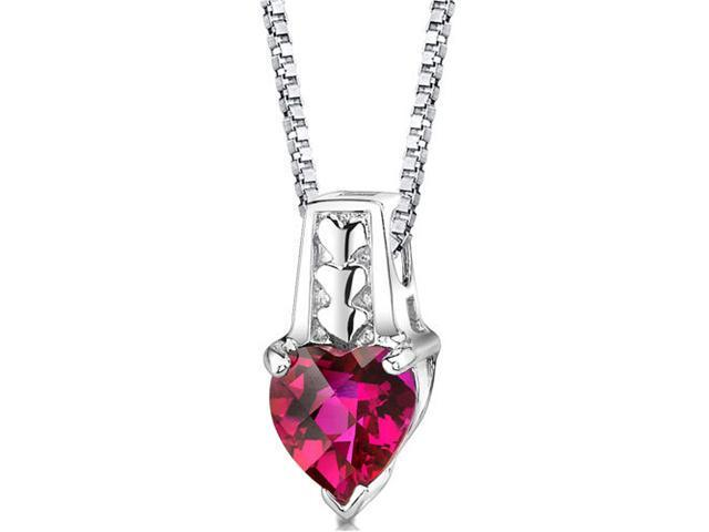 Heart Shape Checkerboard Cut Created Ruby Sterling Silver Pendant with 18