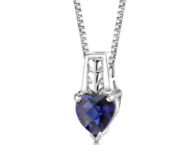 Cherished Forever: Sterling Silver Heart Shape Checkerboard Cut Blue Sapphire Pendant with 18 inch Silver Necklace and