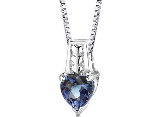 Cherished Forever: Sterling Silver Heart Shape Checkerboard Cut Alexandrite Pendant with 18 inch Silver Necklace and