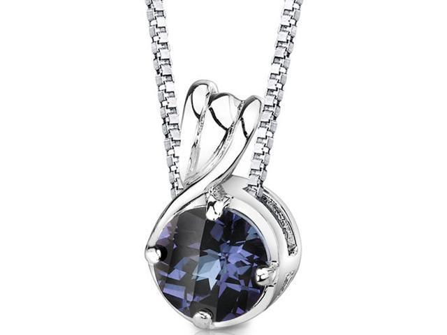 Scintillating Perfection: Sterling Silver Round Shape Checkerboard Cut Alexandrite Pendant with 18 inch Silver Necklace and