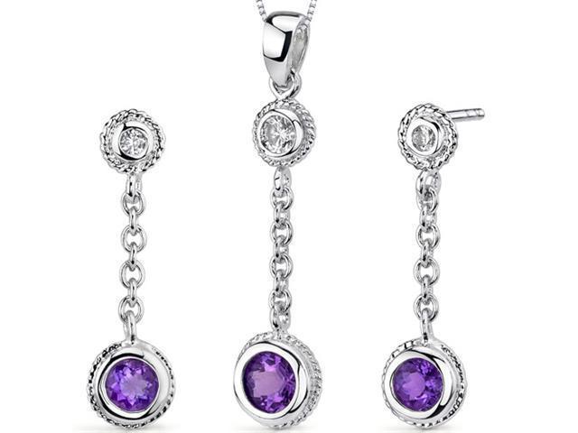 Bezel Set 1.00 carats Round Shape Sterling Silver Amethyst Pendant Earrings Set