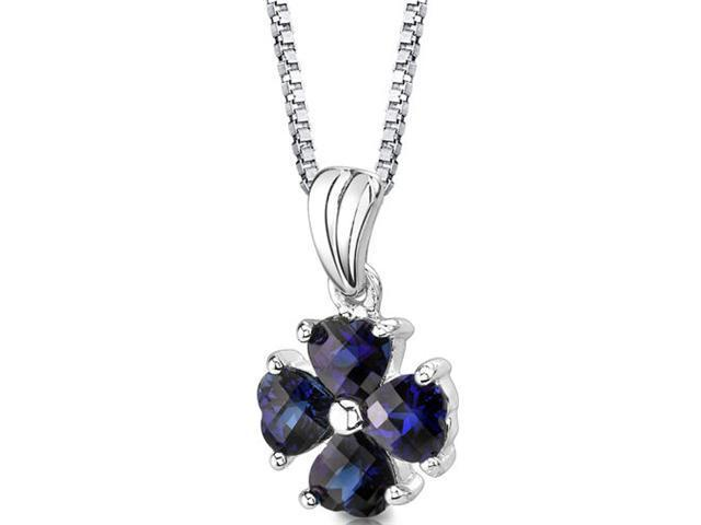 Oravo SP8426 Sterling Silver Heart Shape Checkerboard Cut Blue Sapphire Pendant with 18 inch Silver Necklace