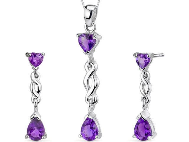 Enchanting 2.50 carats Pear Heart Shape Sterling Silver Amethyst Pendant Earrings Set