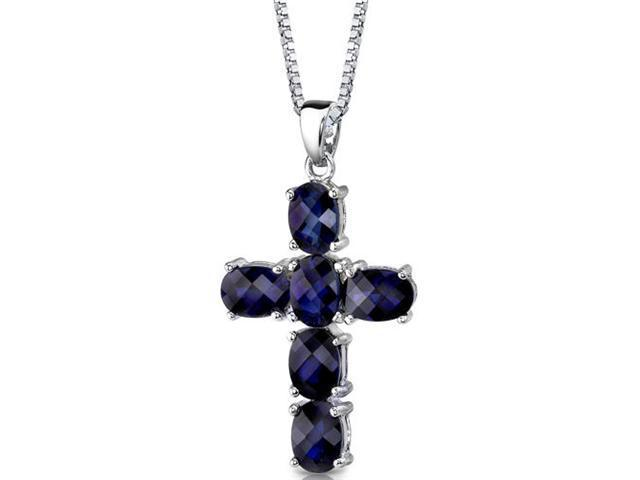 Radiant Glory: Sterling Silver Oval Shape Checkerboard Cut Blue Sapphire CROSS Pendant with 18 inch Silver Necklace and