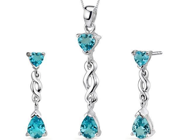 Enchanting 3.25 carats Pear Heart Shape Sterling Silver Swiss Blue Topaz Pendant Earrings Set