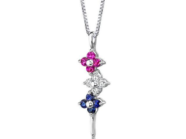 Round Shape Created Ruby Sapphire CZ in Sterling Silver Pendant with 18