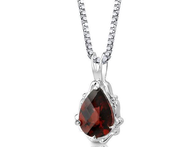 Imperial Beauty: Sterling Silver 2.25 carats Pear Shape Checkerboard Cut Garnet Pendant with 18 inch Silver Necklace and