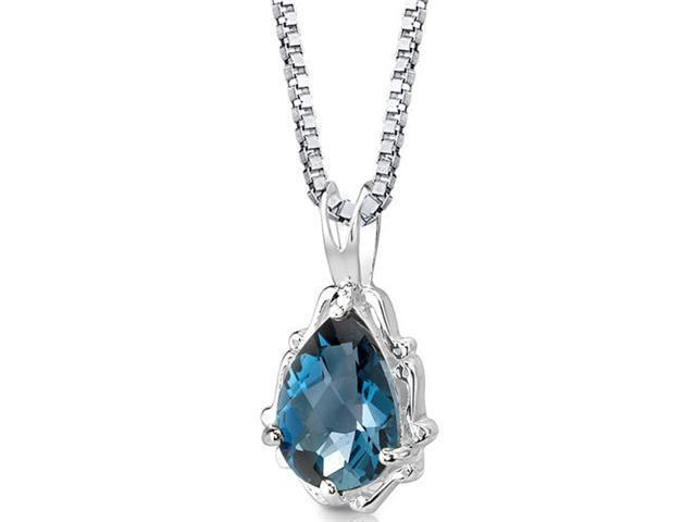Imperial Beauty: Sterling Silver 2.25 carats Pear Shape Checkerboard Cut London Blue Topaz Pendant with 18 inch Silver Necklace and