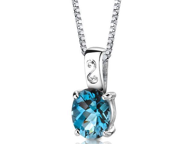 Spring Dream: Sterling Silver 3.00 carats Oval Shape Checkerboard Cut London Blue Topaz Pendant with 18 inch Silver Necklace and