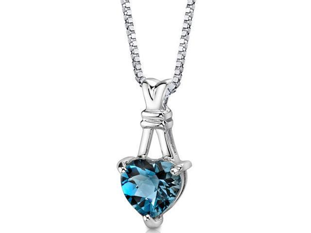 """Oravo SP8586 3.00 Ct Heart Shaped London Blue Topaz in Sterling Silver Pendant with 18"""" Necklace"""