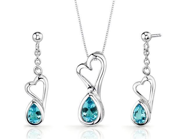 Heart Design 2.00 carats Pear Shape Sterling Silver Swiss Blue Topaz Pendant Earrings Set