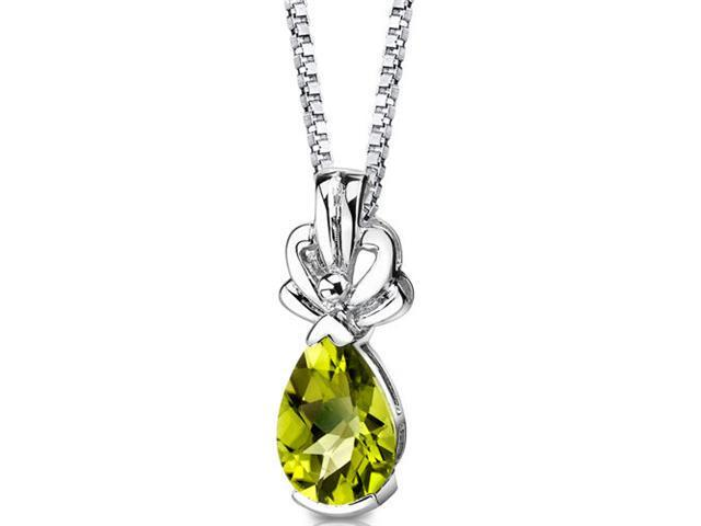 Royal Grace: Sterling Silver 2.00 carats Pear Shape Checkerboard Cut Peridot Pendant with 18 inch Silver Necklace and